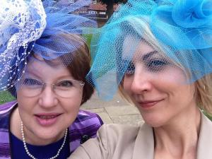 Will the next entrepreneurship project involve hats? Glynis Ross-Munro and Chaz Brueggemann compete with English society in Glynis' home-made hats at Lauren (Davies) and Lindsay Hunting's wedding in Amersham, England. Sept 2014.